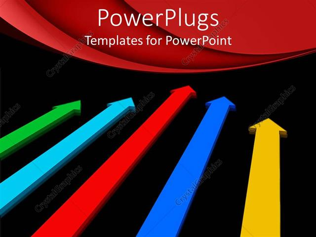 PowerPoint Template Displaying Black Background with Several Colored Arrows Pointing in Same Direction