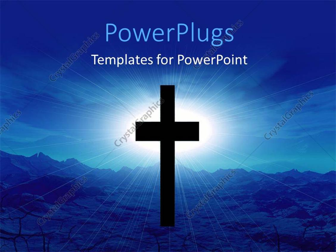 PowerPoint Template Displaying Black Cross with Light Glow from Cloudy Sky in Desert