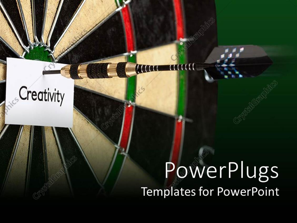 PowerPoint Template Displaying Black Dart Hitting the Center of a Dart Board and a Paper with Creativity Text