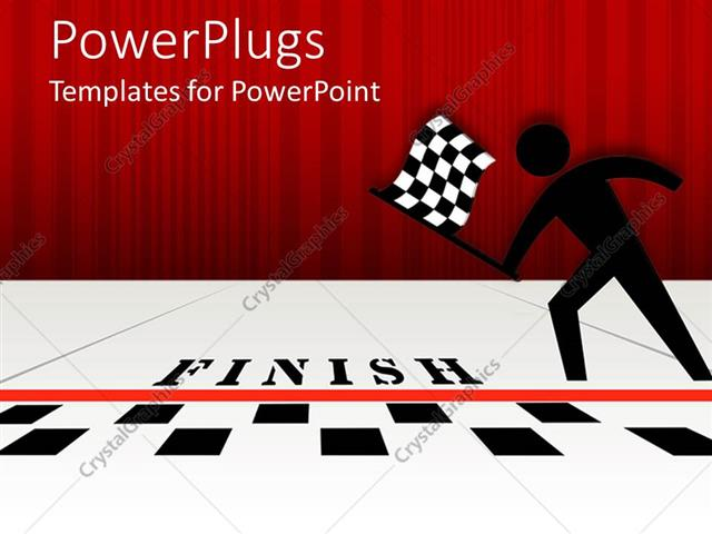 Powerpoint Template  Black Figure With Checked Flag At