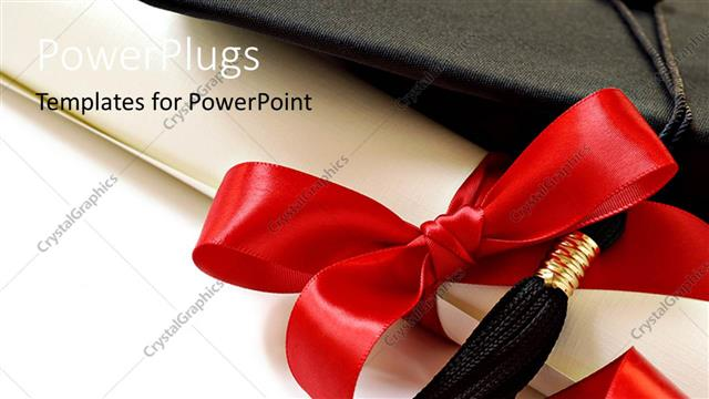 PowerPoint Template Displaying Black Graduation Cap with Red Ribbon and White Background
