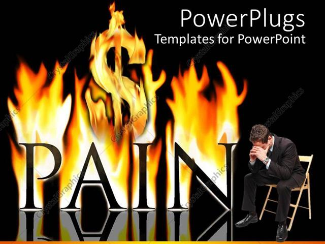 Powerpoint Template  Black Pain Word Burning In Fire