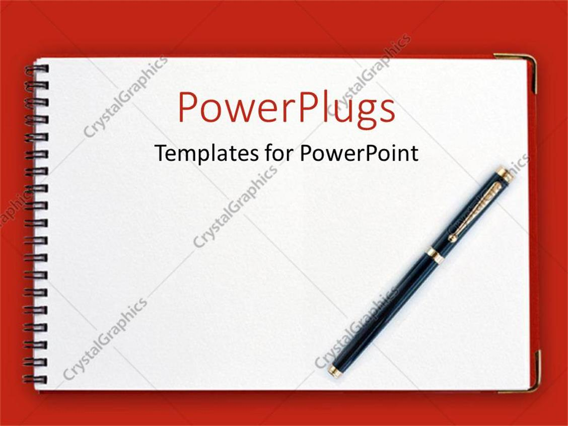 PowerPoint Template Displaying Black Pen on Spiral Notebook with Red Background