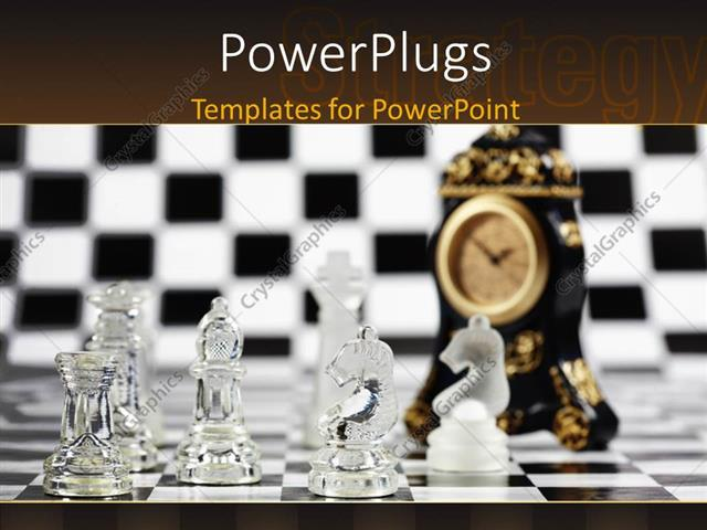 PowerPoint Template: Black and white chess board with glass chess ...