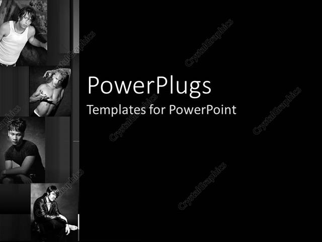 Powerpoint template black and white four depictions of male models powerpoint template displaying black and white four depictions of male models in various positions toneelgroepblik Gallery