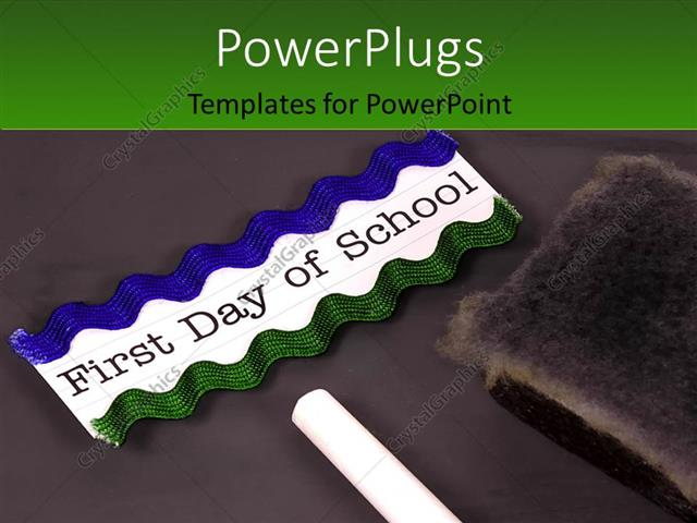 PowerPoint Template Displaying Blackboard with Chalk and Eraser Depicting Educational and Back to School Concept with Green Color