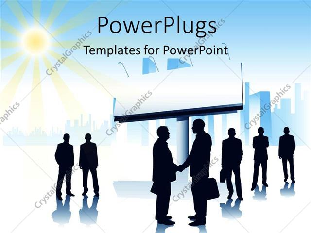 12867bfcc638 PowerPoint Template Displaying Blank Signpost and Sun Shining Overhead with  Handshake Between Businessmen