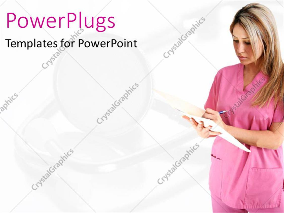 PowerPoint Template blond nurse dressed in pink checking medical report sheet with faded
