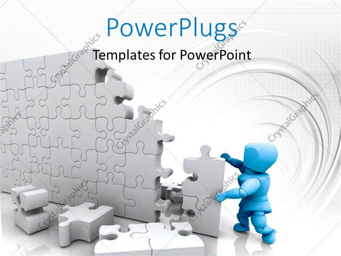PowerPoint Template: Blue 3D man building high wall with jigsaw ...
