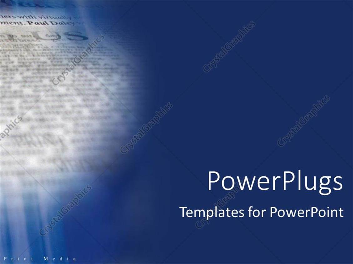 Powerpoint Template Blue Background With Close Up Of Newspaper