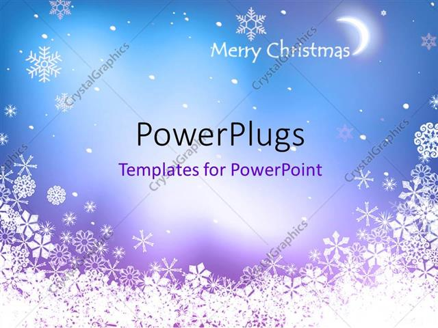 Powerpoint Template Blue Background Framed With White Snowflakes