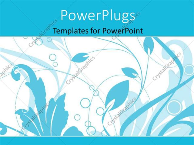 PowerPoint Template Displaying Blue Color Vector Floral Depiction