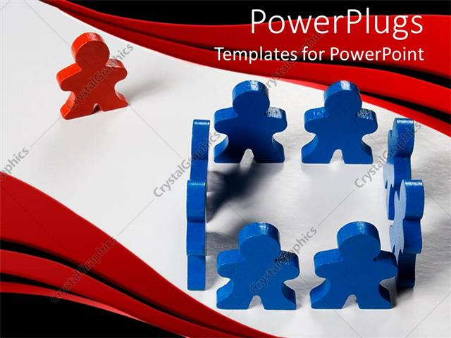 PowerPoint Template Displaying Blue Colored 3D People Form Square with Red Colored One Looking on