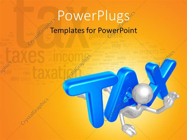 Powerpoint template blue colored 3d tax weighing down chrome 3d man powerpoint template displaying blue colored 3d tax weighing down chrome 3d man toneelgroepblik Choice Image