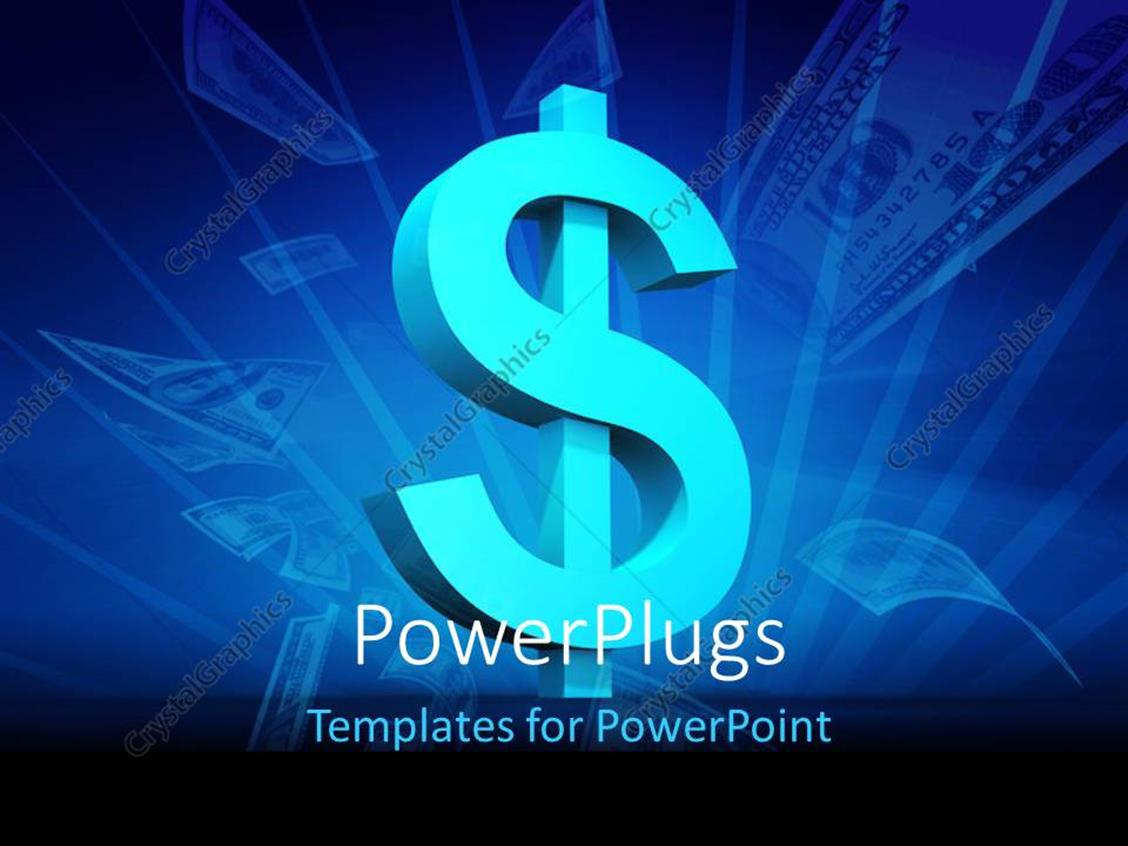 PowerPoint Template Displaying a Blue Colored Dollar Symbol and some Dollar Bills