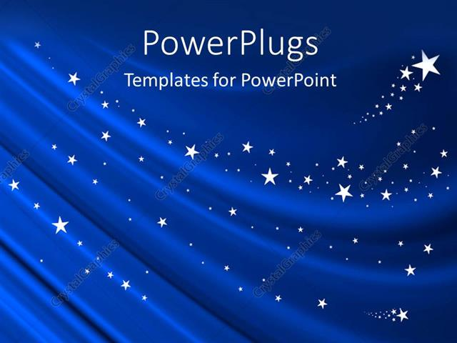 powerpoint template blue curtain background with white stars 27345