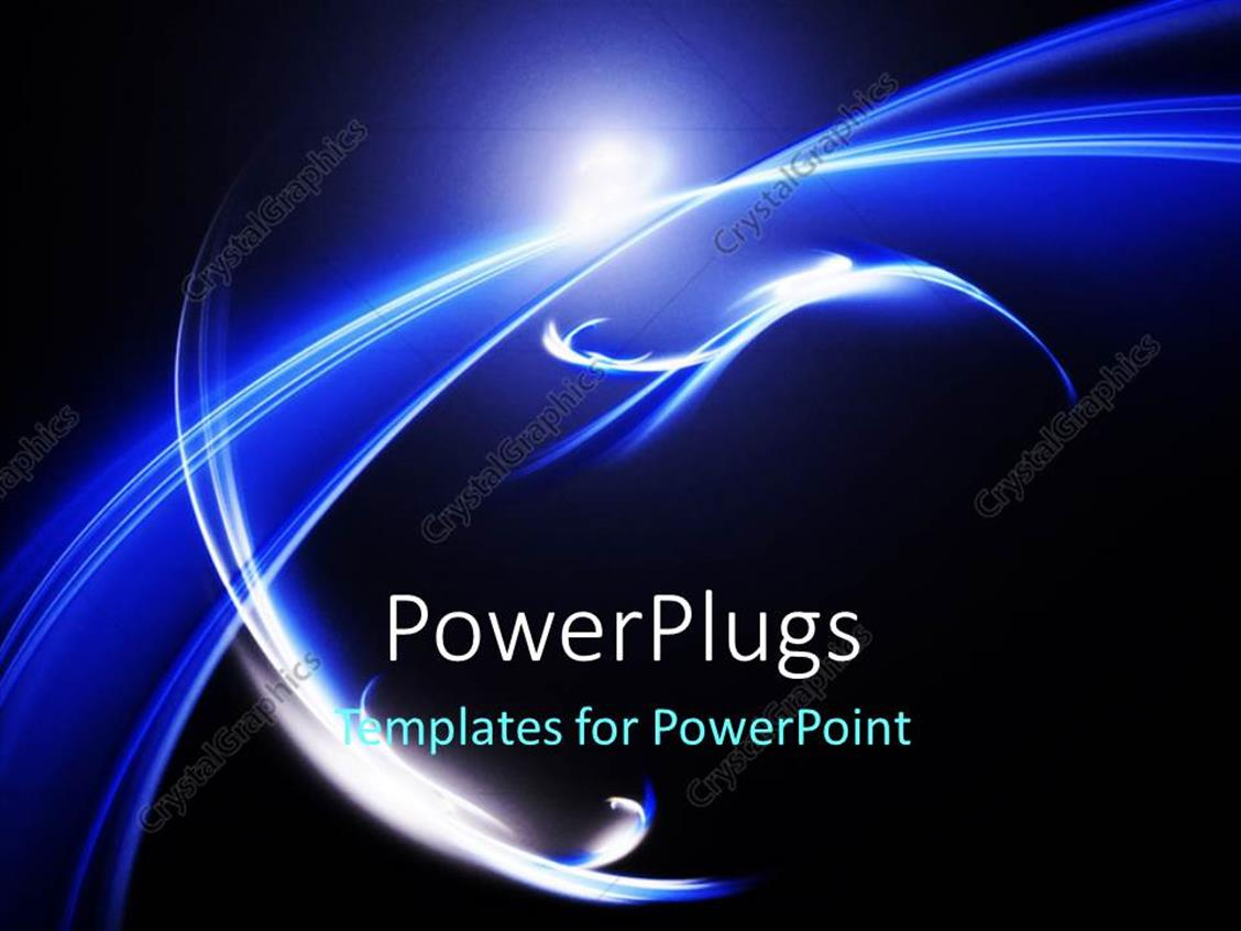 PowerPoint Template Displaying Blue Curve Design Effect Element Over Dark Background, Futuristic Concept