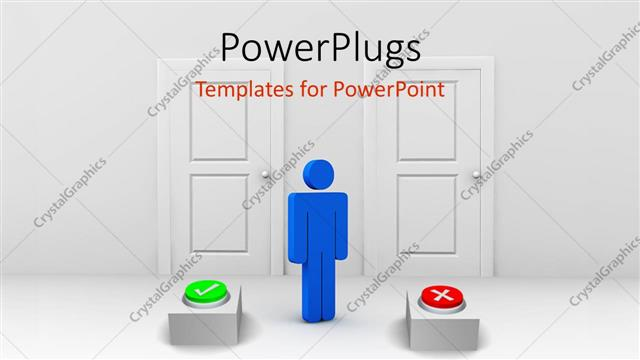 PowerPoint Template Displaying Blue Figure Standing Between Two Doors with Green Check Button and Red X Button
