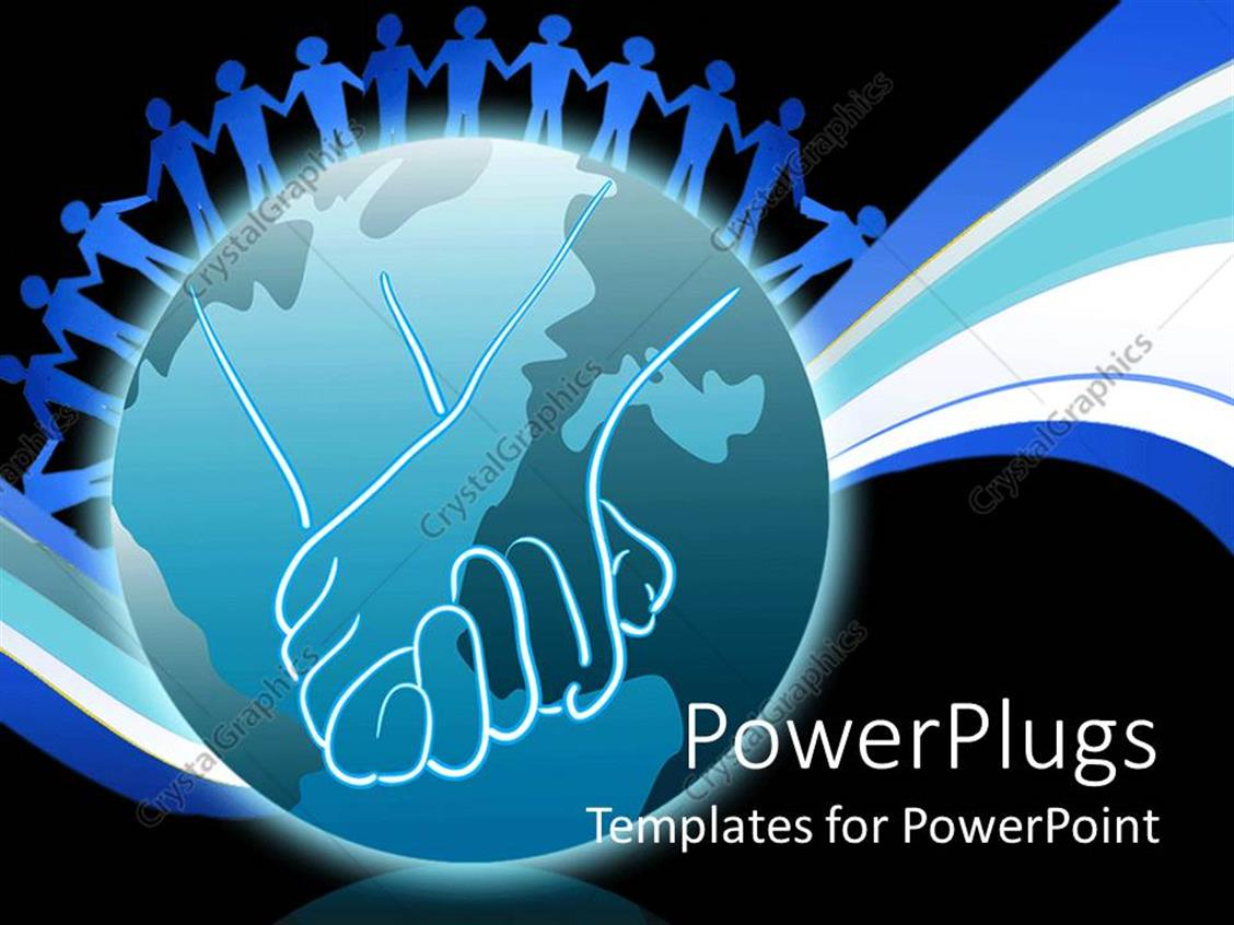 PowerPoint Template Displaying Blue Figures Joining Hands on an Earth Globe on Black Background