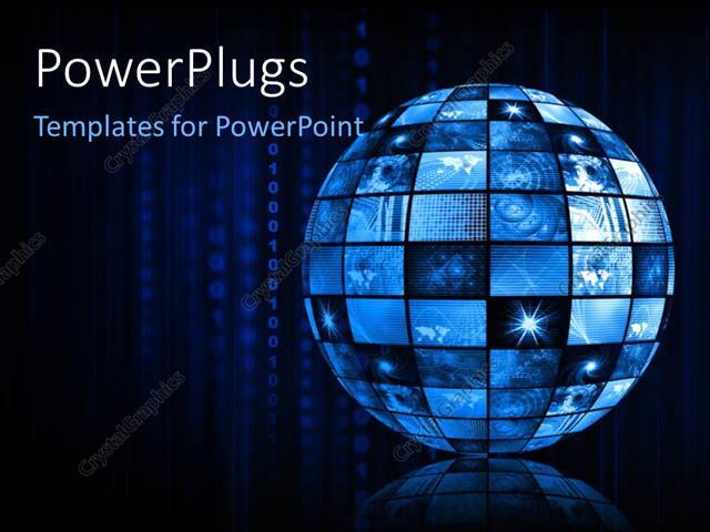 Powerpoint Template Blue Futuristic Digital Tv Channels As