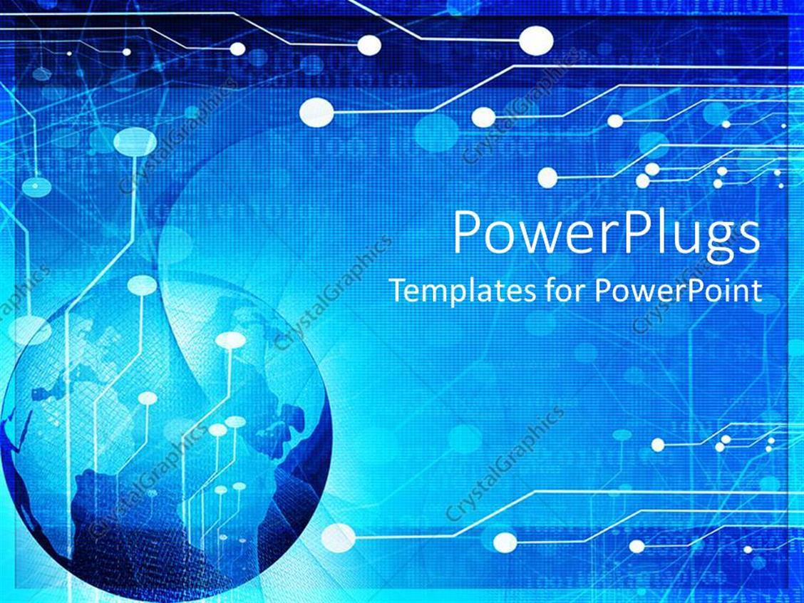 Powerpoint Template Blue Globe Circuit Board Background World Of Computer Code And Illustration Displaying Technology