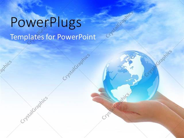 Powerpoint Template Blue Glowing Globe In Womans Hands Over Blue