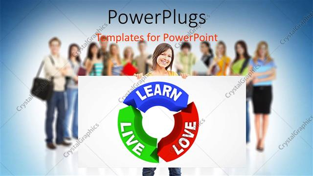 Powerpoint Template Blue Green And Red Curved Lines With Text