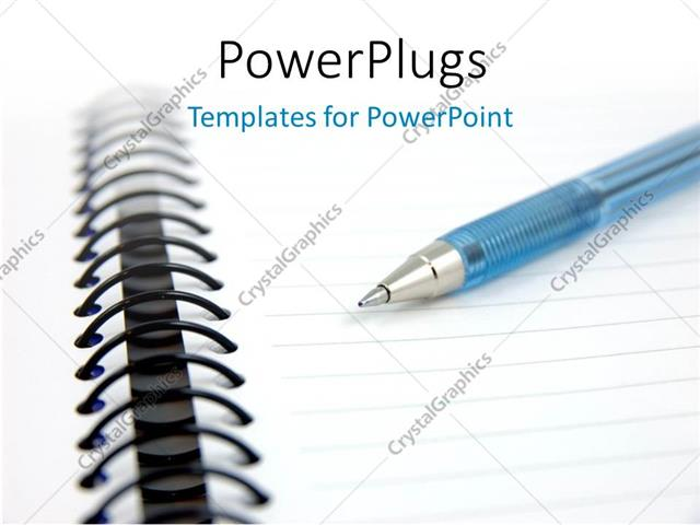 Powerpoint Template Blue Pen On A Notebook With White Color 23240