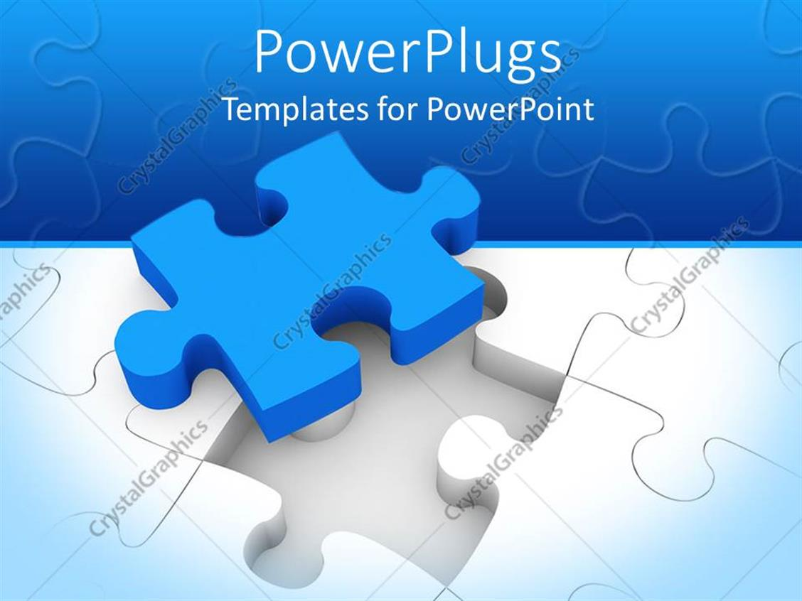 PowerPoint Template: blue puzzle piece on top of white jigsaw puzzle ...