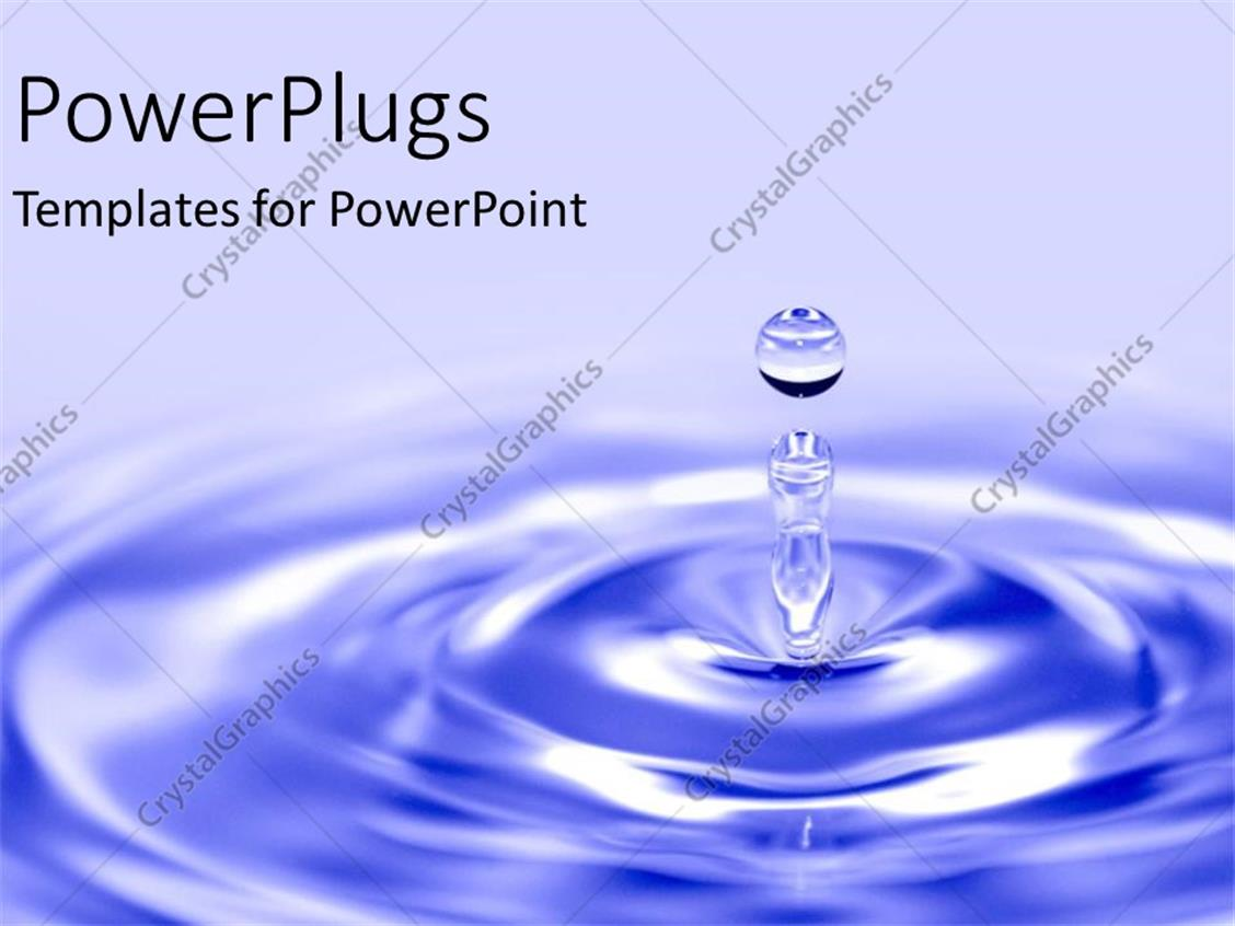 PowerPoint Template Displaying Blue Water Drop into Pond as a Metaphor for Cause and Ripple Effect on Blue Background