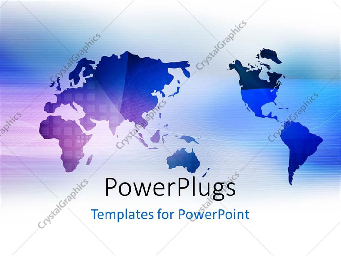 Powerpoint Template Blue World Map On White Background 31796