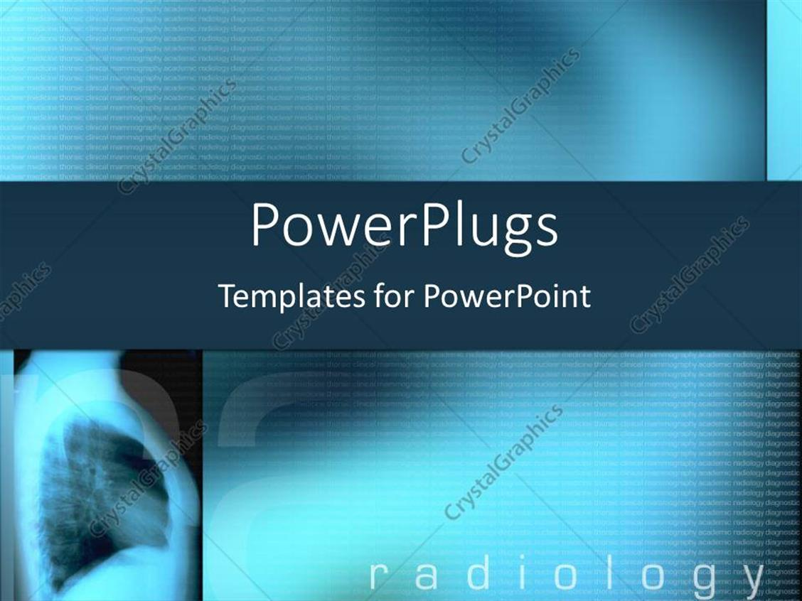 PowerPoint Template: Blue x-ray with radiology text on a