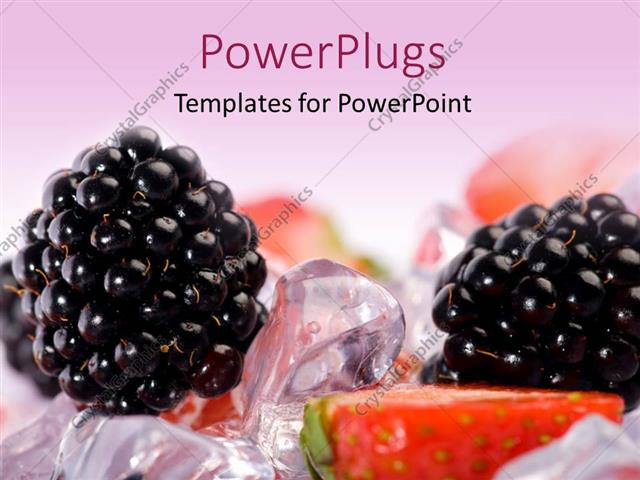 PowerPoint Template Displaying a Blueberry with a Lot of Ice Cubes in the Background