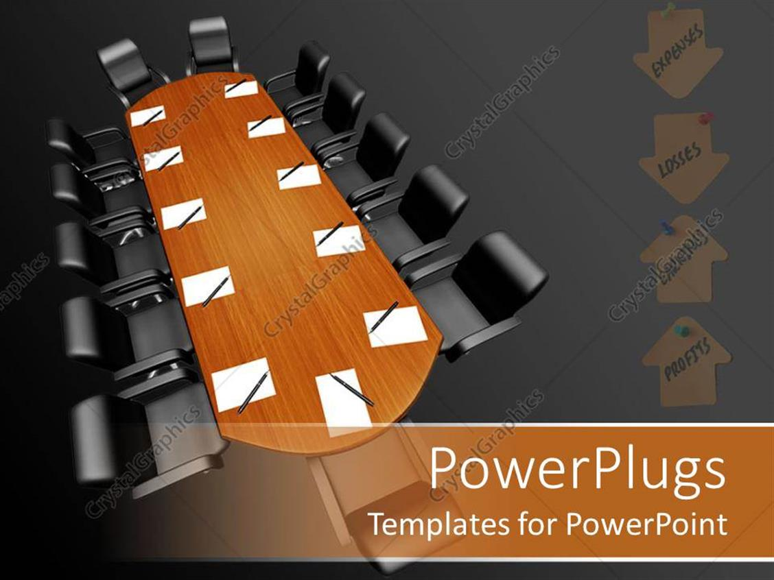 PowerPoint Template Displaying Board Room Conference Table with Paper and Pens, Expenses, Losses, Earnings, Profits Arrows