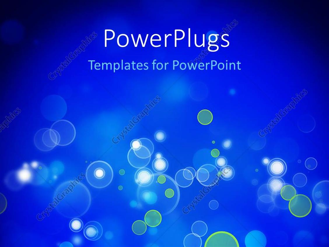PowerPoint Template Displaying Bokeh Effect with Blue Color and Black