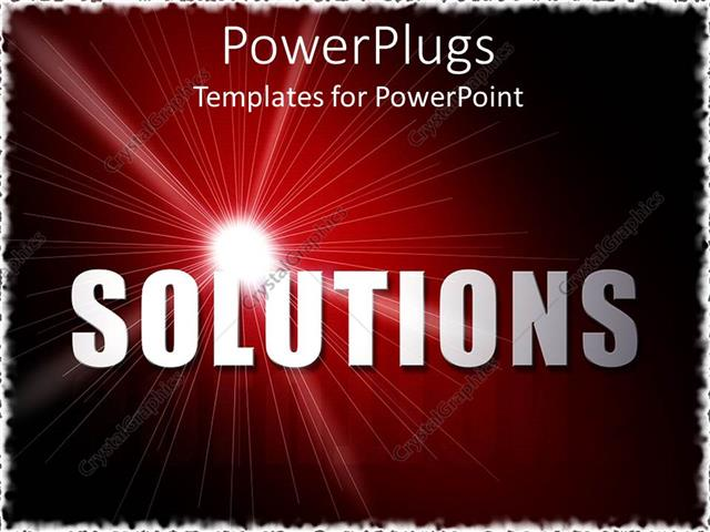 PowerPoint Template Displaying Bold Text 'SOLUTIONS' with Sparkling White Light on Wine Colored Background