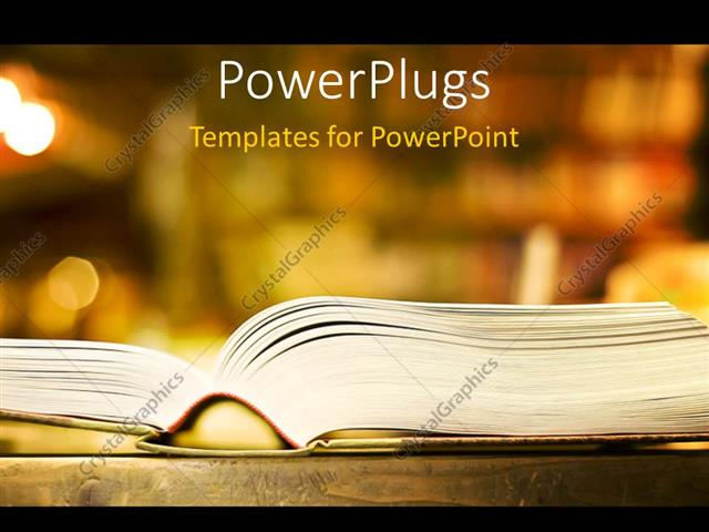 Powerpoint template a book with a bookshelf in the background 3905 powerpoint template displaying a book with a bookshelf in the background toneelgroepblik Image collections