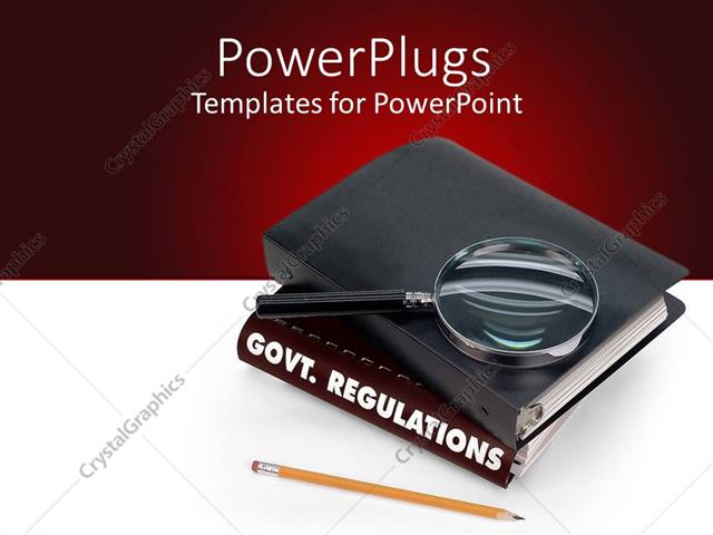 Powerpoint template a book of government regulations pencil powerpoint template displaying a book of government regulations pencil magnifier with white and red toneelgroepblik Gallery