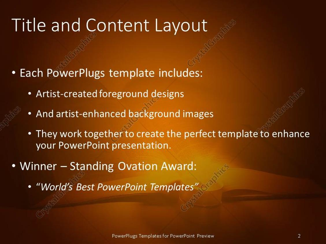 Powerpoint template book lit up by candle reading white powerpoint products templates secure standing ovation award toneelgroepblik Images