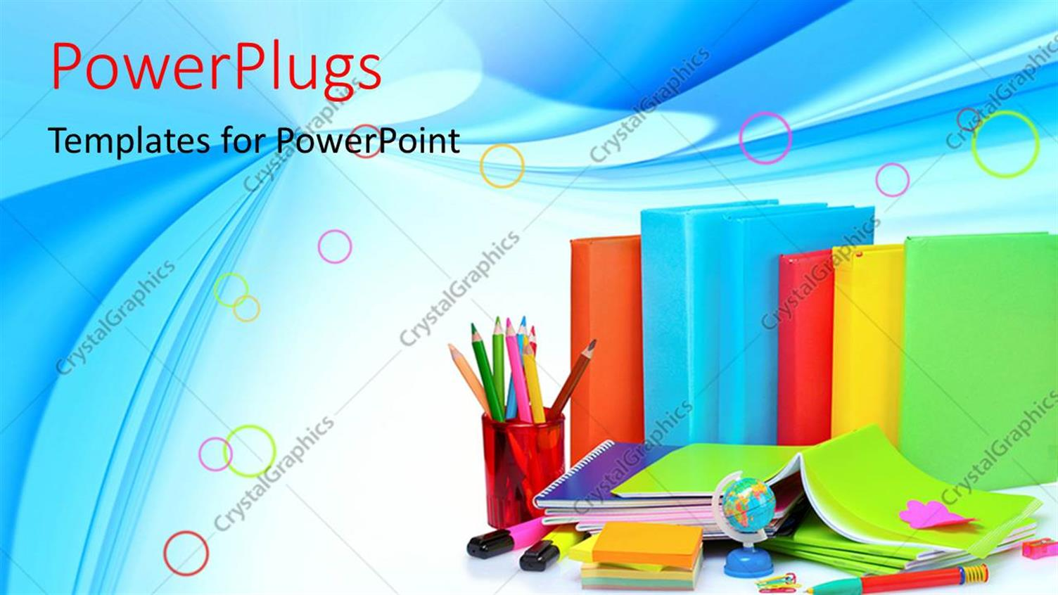 PowerPoint Template Displaying Learning Depiction with Colorful Books and Learning Materials on Blue Background