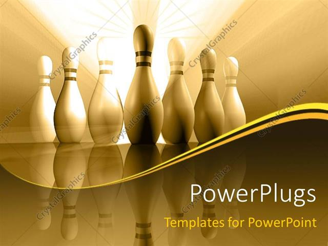 powerpoint template bowling pins with reflection in sepia tones 28697