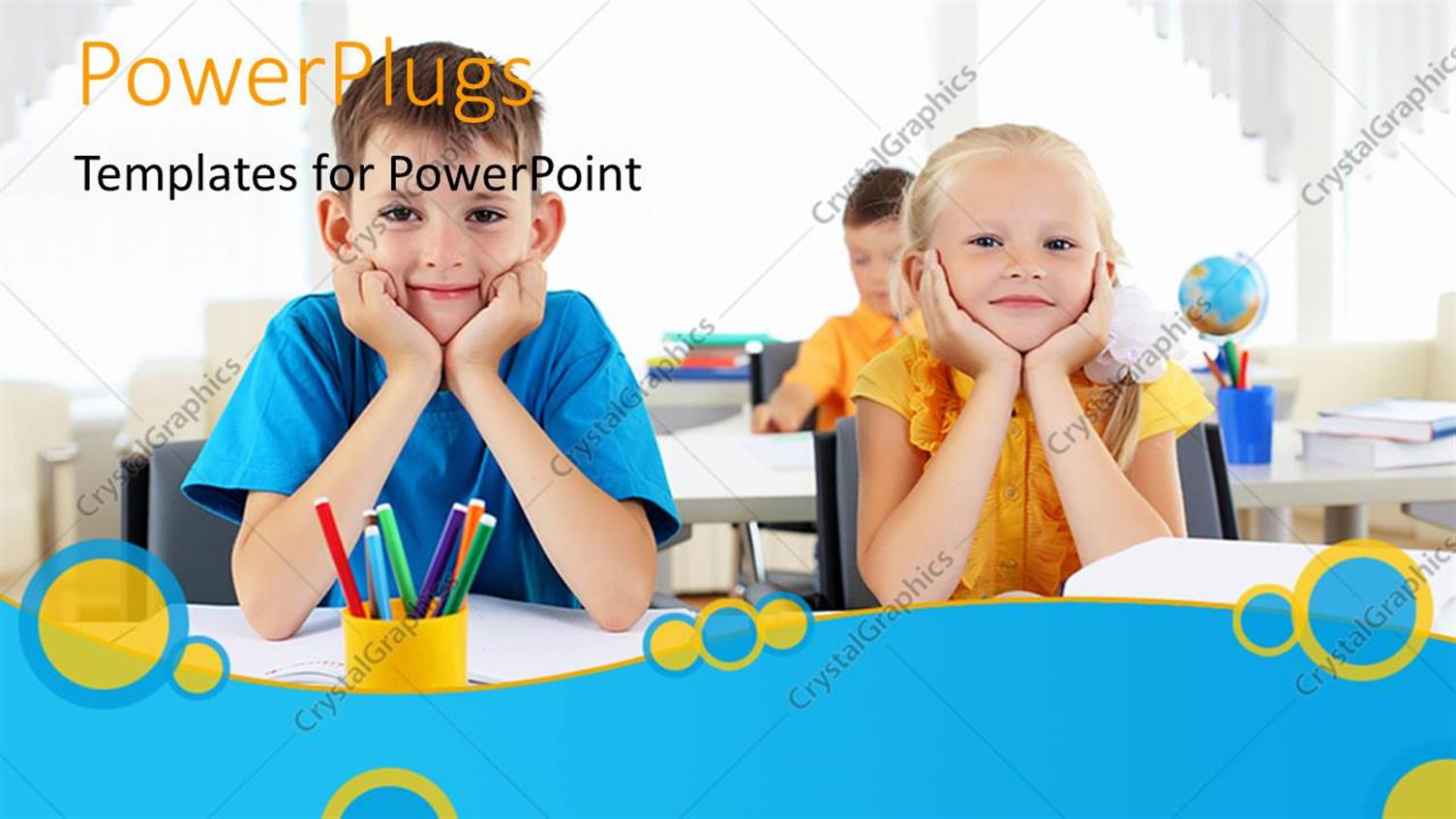 PowerPoint Template Displaying little Children Learning in Classroom with Pencils and Desks