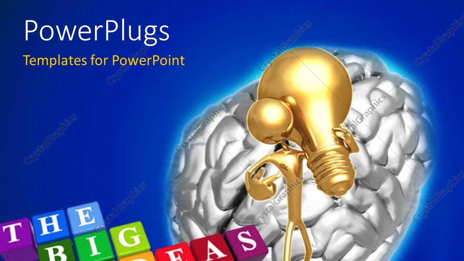 PowerPoint Template Displaying a Brain with an Idea and a Number of Boxes