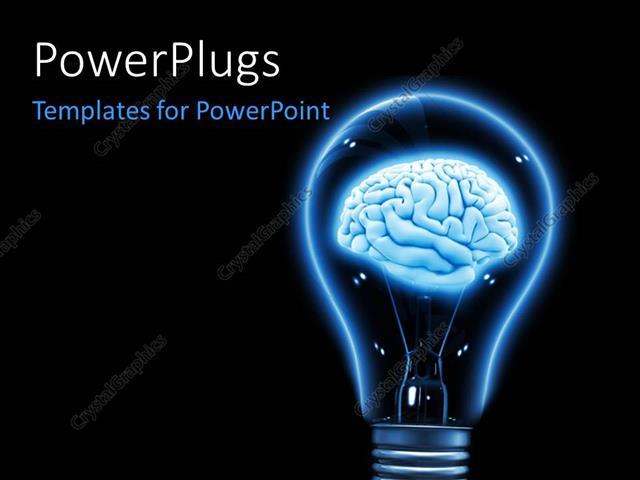 Powerpoint Template Brain Inside A Light Bulb Made In 3d Over A