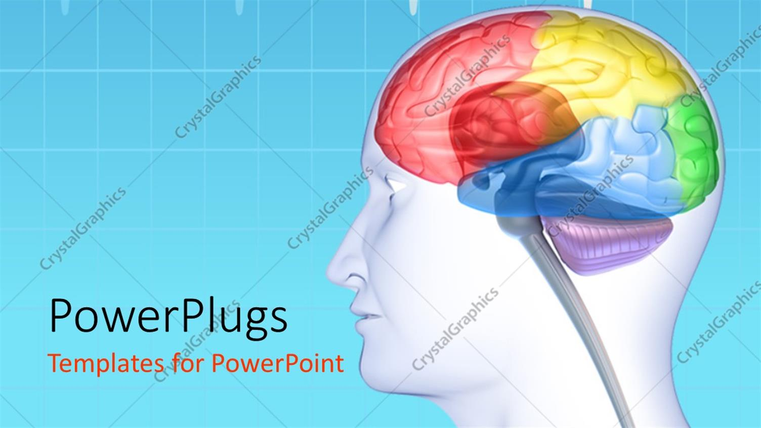 PowerPoint Template Displaying Brain Lobes in Head Silhouette with ECG Wave in the Background