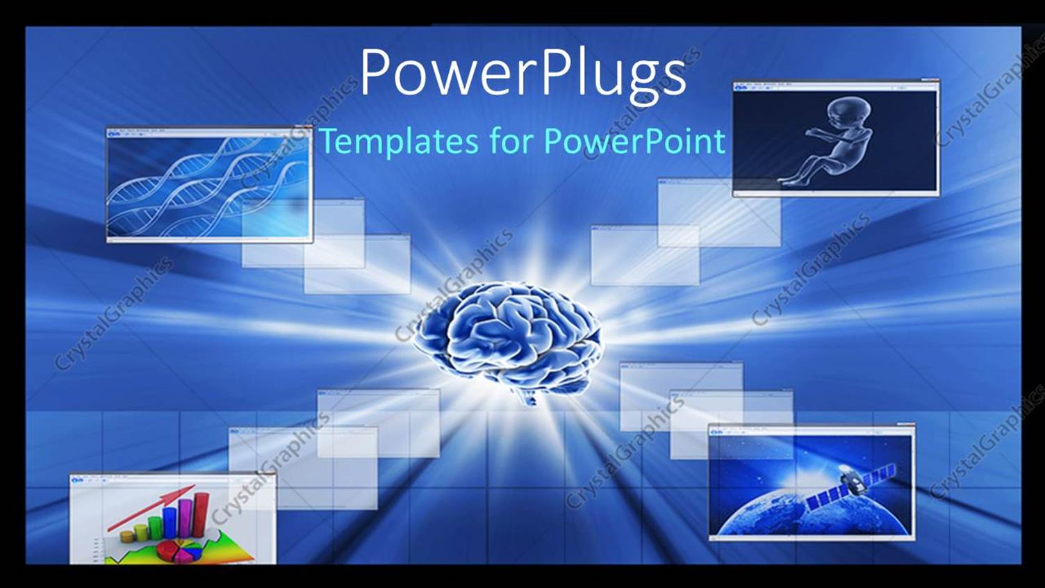 PowerPoint Template Displaying Human Brain with Collage of DNA Strands and Business Charts