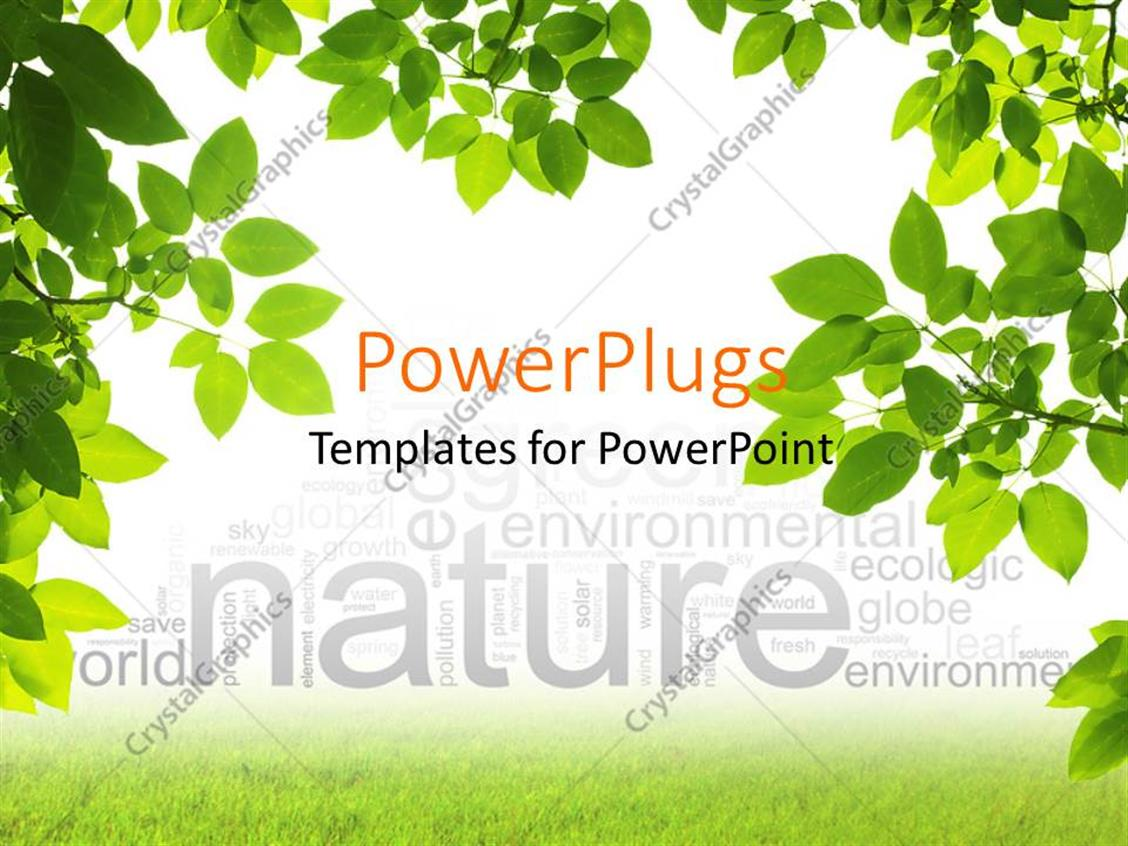 Powerpoint template branches of green leaves framing nature word powerpoint template displaying branches of green leaves framing nature word cloud alramifo Choice Image