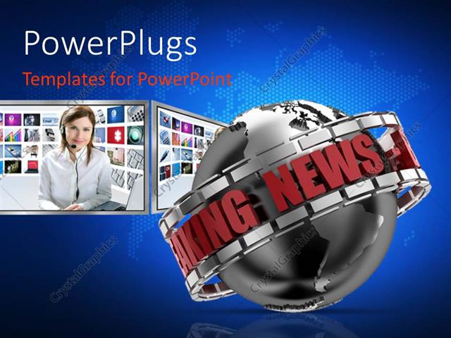 Powerpoint Template Breaking News Globe In 3d With New Presenter In