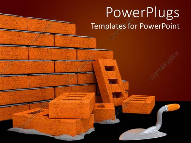 PowerPoint Template Displaying Bricks with Ladder