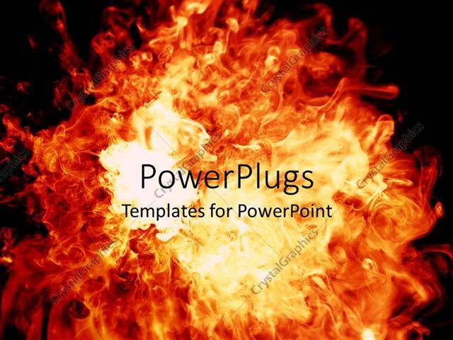 PowerPoint Template Displaying Bright Orange Flames on Dark Background